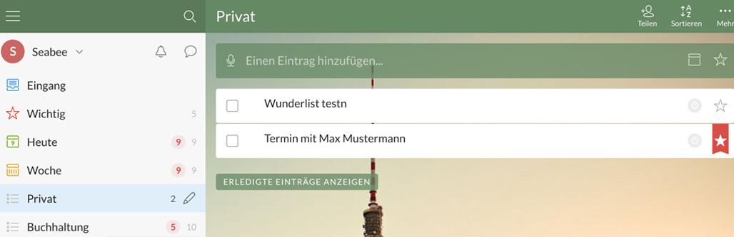 Wunderlist Screenshot - 3 Management Apps you will love